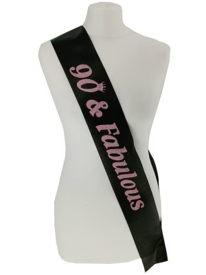 Black With Pink Glitter '90 & Fabulous' Birthday Sash