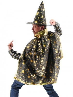 Wizard Witches Hat & Cloak Set In Black