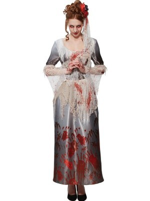 Bloody Hands Stained Women's Vintage Style Halloween Fancy Dress Costume