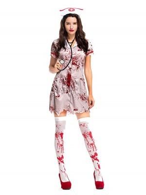 Blood-spattered Nurse Fancy Dress Costume