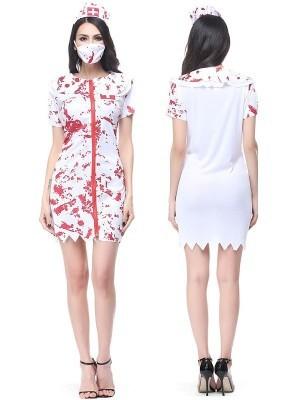 Bloody Zombie Nurse Halloween Fancy Dress Costume - One Size