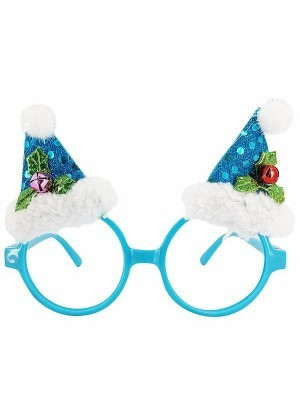 Blue Circle With Santa Hats Christmas Glasses
