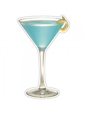 Blue Martini Cocktail with A Lemon Twist