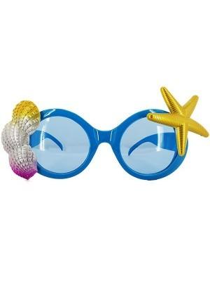 Blue Mermaid Sea Shell and Star Fish Beach Theme Glasses