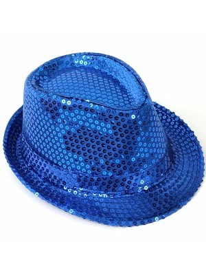 Super Cool Blue Sequin Gangster Hat