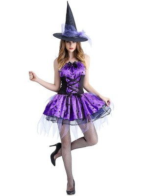 Purple Star Sexy Wicked Witch Women's Halloween Fancy Dress Costume