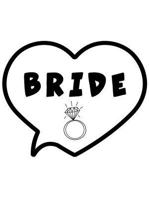 'Bride' Heart Bubble Photo Booth Prop