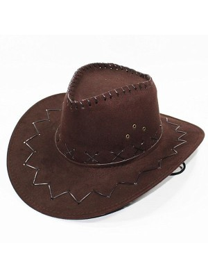 Brown Suede Effect Cowboy Hat
