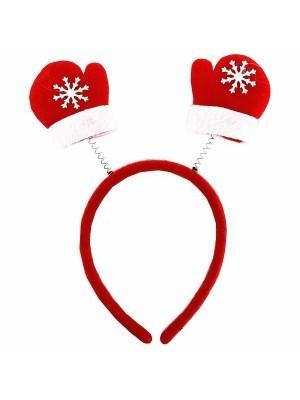 Budget Red Mittens Christmas Headband