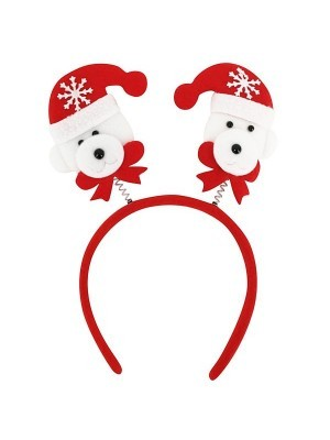 Budget Red Polar Bear Christmas Headband