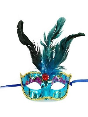 Burlesque Style Feathered Masquerade Mask in Blue
