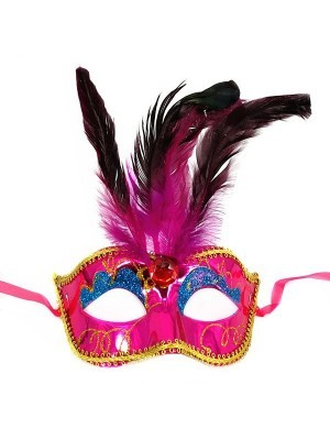 Burlesque Style Feathered Masquerade Mask in Pink