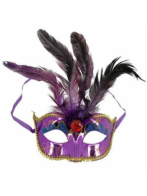 Burlesque Style Feathered Masquerade Mask in Purple