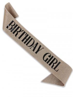Luxury Champagne Glitter With Black Foil 'Birthday Girl' Sash
