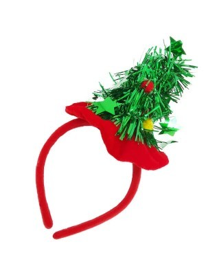 Christmas Tree Tinsel with Red Headband