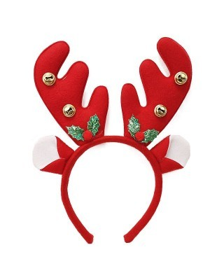 Classic Red Reindeer Antlers with Bells Headband