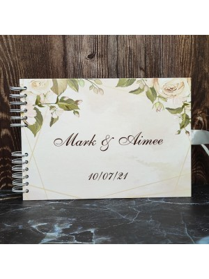 CUSTOM Cream Roses Gold Frame Guestbook with Different Page Style Options