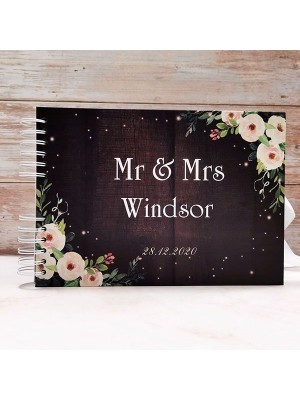 CUSTOM Brown Wood With Pink Roses Guestbook with Different Page Options