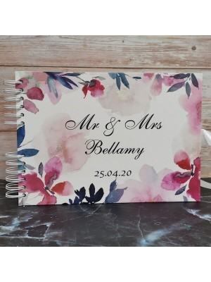 CUSTOM Pastel Water Colour Flowers Guestbook with Different Page Options