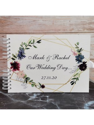 CUSTOM Watercolour Flowers and Gold Frame Guestbook with Different Page Options