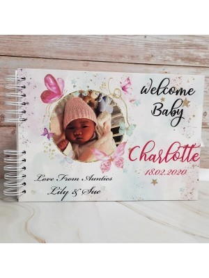 CUSTOM White & Pink Butterfly Baby Shower Book with Different Page Options