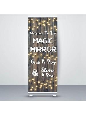 Dark Rustic Wood With Fairy Light 'Magic Mirror' Pop Up Roller Banner