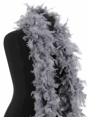 Luxury Dark Silver Grey Feather Boa – 80g -180cm