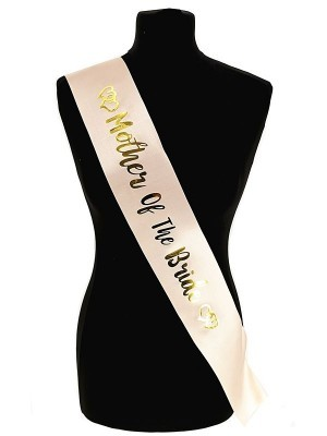 Champagne With Gold Foil 'Mother Of The Bride' Sash
