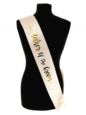 Champagne With Gold Foil 'Mother Of The Groom' Sash