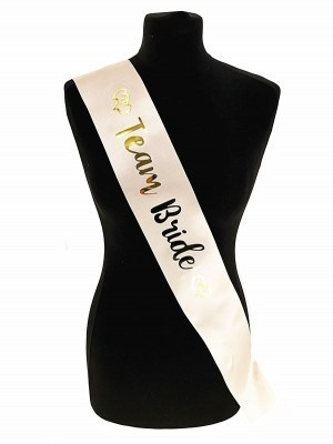 Champagne With Gold Foil 'Team Bride' Sash