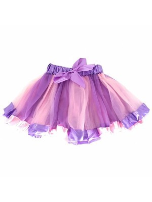 Kids Dreamy Pink and Purple Tutu with Ribbon Trim and Bow