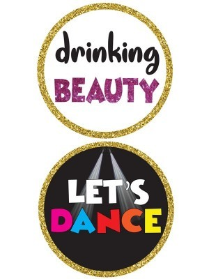 Drinking Beauty & Lets Dance, Double-Sided PVC Round Photo Booth Word Board Signs