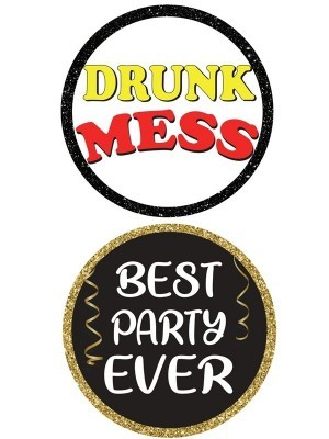 Drunk Mess & Best Party Ever, Double-Sided PVC Round Photo Booth Word Board Signs