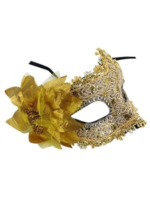 Elegant Lace Floral Masquerade Mask In Gold