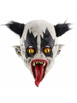 Evil Clown Mask With Tongue Out Halloween Fancy Dress Costume