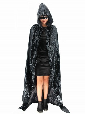 Fancy Dress, Costume Long Adult Shiny Black Cloak