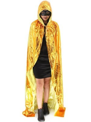 Fancy Dress, Costume Long Adult Shiny Gold Cloak