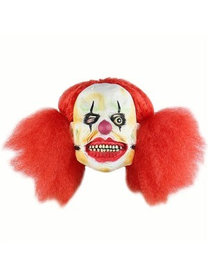 Crazy Afro Clown Mask Halloween Fancy Dress Costume