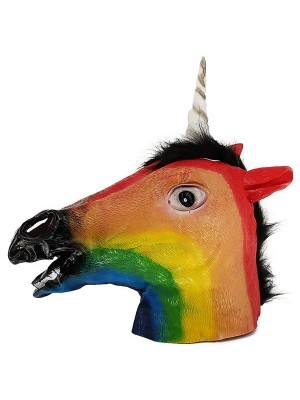 Fancy Dress Costume Rainbow Unicorn Head Mask Props