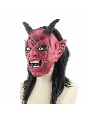 Red & Black Satan Mask Halloween Fancy Dress Costume