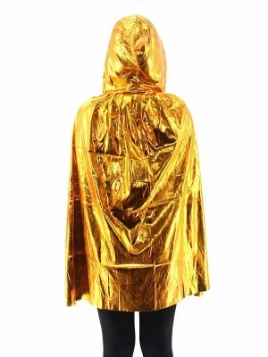 Fancy Dress, Costume Short Adult Shiny Gold Cloak