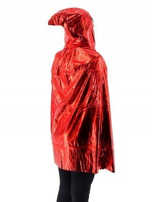 Fancy Dress, Costume Short Adult Shiny Red Cloak