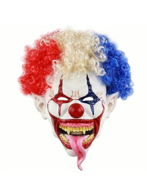Tongue of Terror Clown Mask Halloween Fancy Dress Costume