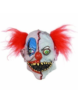 Two Faced Evil Clown Head Mask Halloween Fancy Dress Costume