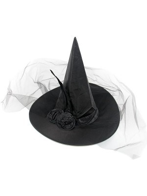 Flowered Black Witches Hat With Net Veil