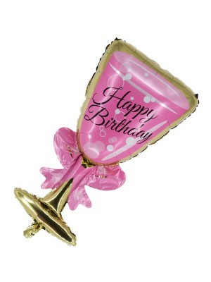 Giant Pink Champagne 'Happy Birthday' Glass Balloon