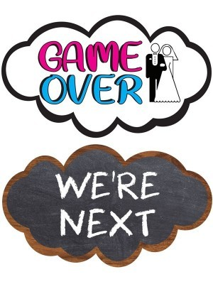 Game Over & We're Next, Double-Sided PVC Cloud Photo Booth Word Board Signs