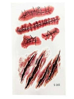 Gashes and Stitches Temporary Tattoo Pack – S-165