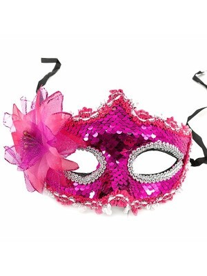 Glamorous Sequin Flowered Masquerade Mask In Hot Pink