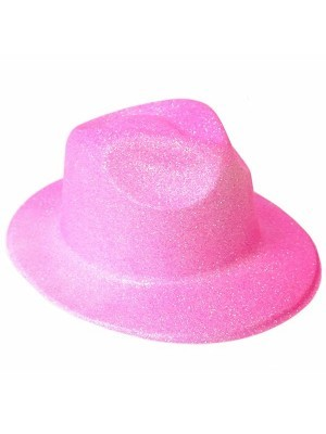 Pink Glitzy Plastic Gangster Hat